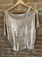 NEXT WOMENS PINK SEQUIN ONE COLD SHOULDER PETITE TOP SIZE: 8p BNWT RRP £35.00