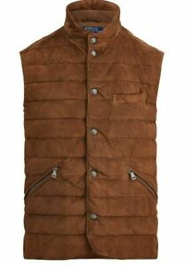 $898 Polo Ralph Lauren Mens Quilted Suede Down Brown Puffer Vest Jacket Gilet