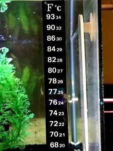 1 Aquarium Fish Tank Thermometer Temp Sticker Stick on **FAHRENHEIT IN BOLD!**