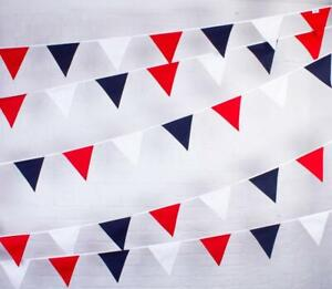 100% Cotton Bunting - Red, White & Blue - 10m/33 Double Sided Flags