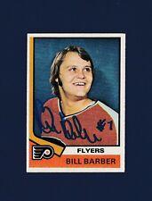 Bill Barber signed Philadelphia Flyers 1974 Topps hockey card