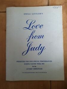 SAVILLE THEATRE PROG 1953 EMILE LITTLERS. LOVE FROM JUDY.