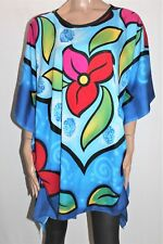 SD Collection Brand Blue Floral Kaftan Blouse Top FREE Size BNWT #TK109