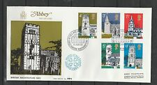GB FDC 1972 Churches Earls Barton special cancel, Full set on Abbey Cover