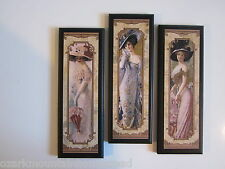 Victorian Ladies wall decor plaques fancy French bed bath Paris pictures gold