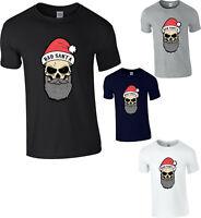 Bad Santa Skull Christmas T-Shirt,Funny Naughty Xmas Festive Gift Adult Kids Top