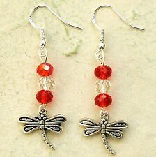 Dragonfly Earrings Sterling Silver Hooks Crystal Beads New Drops LB288
