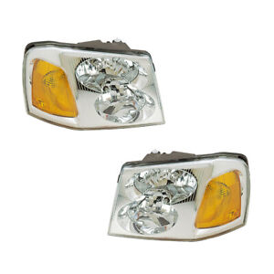 Headlights Front Lamps Pair Set for 02-09 GMC Envoy Left & Right