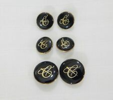 CANALI blazer button 6 pc. set replacement black 'C' logo