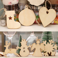 10pcs Christmas Wood Chip Tree Ornaments Xmas Hanging Pendant Stylish Home Decor