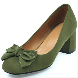 Womens Fashion Low Block Heels Suede Bow Slip On Casual Shoes Round toe Pumps