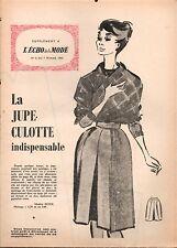 ▬► Patron Couture Supplément Écho de la Mode Jupe-culotte Taille 44 N°6 1960