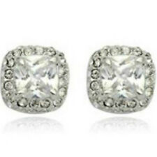 White gold finish clear sparkly square studs quality dress jewellery UK seller