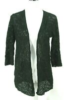 "J Jill Open Front Cardigan Sweater S Black ""Lacy"" Stretch Cotton Knit Small"