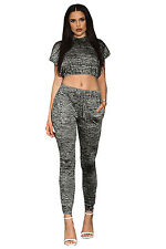 Abito Set Maglietta T-Shirth pantaloni Cappuccio aderente Crop Top Pant Set L
