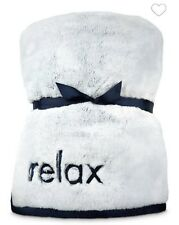 NEW BATH & BODY WORKS NAVY BLUE RELAX FAUX FUR BLANKET THROW LARGE COZY SOFT