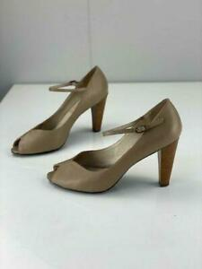 RMK Womens Paige Brown Leather Mary Jane Heels Peep Toe Ankle Strap Size 9