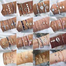 3-6Pcs/Set New Women Boho Beaded Bracelets Rhinestone Bangle Cuff Jewelry Gift