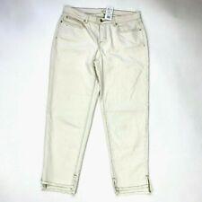 Eileen Fisher Undyed Organic Cotton Stretch Denim Pant Ivory Women 14 P NWT $178