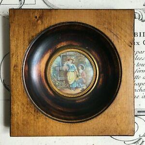 Miniature XIXe Scène Galante Fontaine - Victorian French Handpainted 19thC