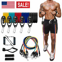 UPGRADE 11 PCS RESISTANCE BANDS SETS 150LBS WORKOUT EXERCISE YOGA FITNESS TUBES