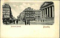 Bruxelles Brüssel Belgien ~1900 Boulevard Ansbach Tram Straßenbahn Personen AK