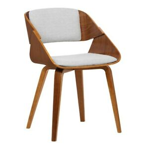 Armen Living Ivy Mid-Century Dining Chair, Gray/Walnut Wood - LCIVCHWAGREY