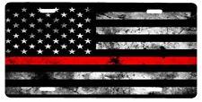 New Custom American Flag Thin Red Line Firefighter Fireman Vanity License Plate