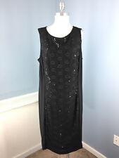 Anne klein 20W Black Lace Sequin Panel Sheath dress Cocktail Formal Stretch EUC