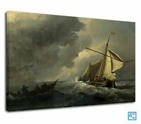 Amazing Watercolor Art Of Sailboat Into The Storm Canvas Print Wall Art Picture