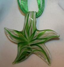Lovely Sculpted Green & White Lampwork Star Voile Cords Pendant Necklace