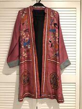 Women's Kantha Embroidered Pink Silk Kurta Jacket With Black Slip Size S/UK 6-8