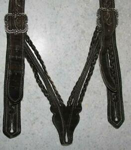 Geflochtene Traditional Costume Leather Suspenders IN Dark Braun To Pants