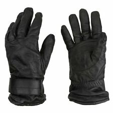 Military Issue Black Austrian Leather Tactical Work Gloves | Wool knit Lining