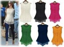 Women Girl Sleeveless Embroidery Lace Flared Peplum Crochet Top Vest blouse Gift