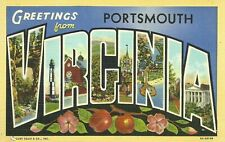 Greetings From Portsmouth Virginia Large Letter Linen Postcard Curt Teich