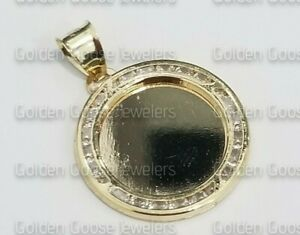 Sale Real Yellow Gold Round Medallion Picture Frame Memory CZ Pendant Charm 1 In