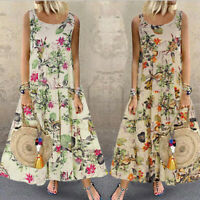 Retro Women Boho Dress O-Neck Floral Printed Sleeveless Party Long Maxi Sundress