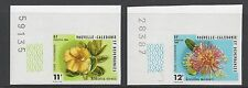 NEW CALEDONIA - 453 - 454 - MNH - 1980 - IMPERF W/ PLATE NUMBERS - FLOWERS