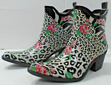 "CORKYS ""Foxy"" Western Style Ankle Rain Boot, Floral Animal Print, Size 6, NIB"