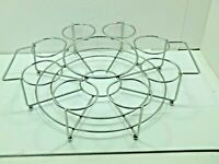 Vintage Metal Tray w/8 Glass Serving Tray w/ Hor's d'oeuvre Dish Area In Center.