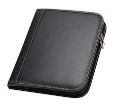 black zip around detachable ipad case cards pen organizer holder padfolio G8605