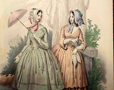 LE FOLLET 1845 Hand-Colored Fashion Plate #1256 Gowns in Peach & Green PRINT