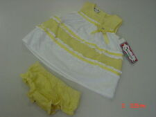 Nwt Samara Infant Girls 2 Piece Set Yellow White Seersucker Dress Bloomers