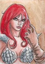 Breygent Red Sonja 2012 Sketch Card by Newton Barbosa