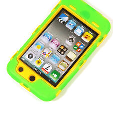 Deluxe Green On Yellow Body Armor 3-Piece Hard Case For Ipod Touch 4 4th 4G Gen