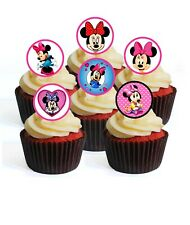 24 Minnie Mouse Theme Edible Cupcake Toppers-Stand Up Wafer Decorations