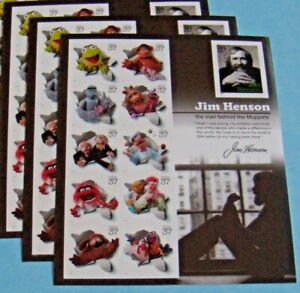 Three (3) Panes x 11 = 33 of JIM HENSON & The Muppets 37¢ US USA Stamps Sc# 3944