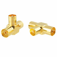 2Pcs 1 Male to 2 Female Jack TV PAL RF Coax Connector Adapter T Splitter