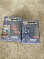 Funko Pop! Batman Art Artist Series Set Lot of 2 #03 #04 Blue Camo Orange Target